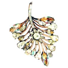 37739a -  Hollycraft 1958 Jonquil/Clear/Topaz Stones Copper Tone Leaf Style Pin