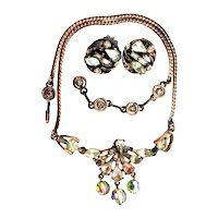 37743a - Hollycraft 1958 Topaz Stones Copper Tone 3-Bead/Necklace & Earrings Set