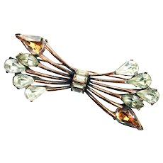 37746a - Hollycraft 1958  Jonquil/Clear/Topaz Stones Copper Tone Bar Brooch/Pin