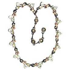 37755a - Hollycraft 1958 Jonquil/Clear/Topaz Stones Copper Tone Necklace/Choker