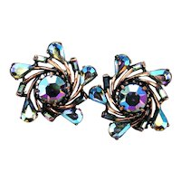 37769a - Hollycraft 1958 Blue/Brown AB Stones Copper Tone Pinwheel Clip Earrings