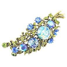 37774a - HOLLYCRAFT 1958 Blue Cat's Eyes & Olivine & Blue Stones Leaf Brooch