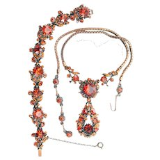 37780a - Hollycraft 1958 Burn Orange Antiqued Copper Necklace/Bracelet/Earrings