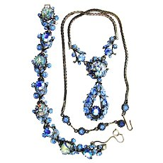 37785a - Hollycraft 1958 Blue Cat's Eyes & Sapphire Stones Necklace & Bracelet