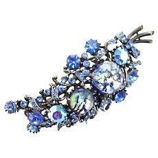 37791a - HOLLYCRAFT 1958 Blue Cat's Eyes & Sapphire Stones Leaf Brooch
