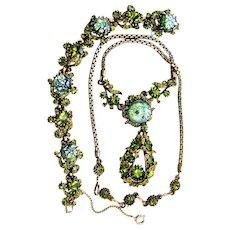 37795a - Hollycraft 1958 Green Cat's Eyes & Olivine Stones Necklace & Bracelet