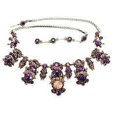 37812a - HOLLYCRAFT 1958 Purple Cat's Eye & Purple Rhinestones Huge Necklace