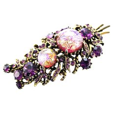 37815a - HOLLYCRAFT 1958 Purple Cat's Eyes & Purple Rhinestones Leaf Brooch