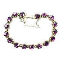 37823a - HOLLYCRAFT 1958 Purple Rhinestones Tennis Style Bracelet