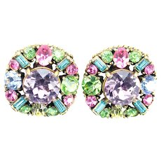 37840a - Hollycraft 1955 Pastel With Huge Center Stone Screw Back Earrings