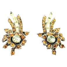 37850a - HOLLYCRAFT 1956 Yellow/Topaz Color Stones Clip On Earrings