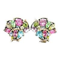 37857a - Hollycraft 1953 Pastel Rhinestones Clip Back Earrings