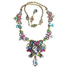 37867a - HOLLYCRAFT 1953 Multi Color Pastel Huge Drop Dangle Necklace