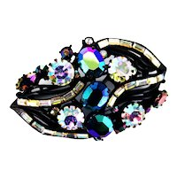37905a - Blazing HOLLYCRAFT 1957 Black/Blue AB & Crystal Clear AB Brooch/Pin