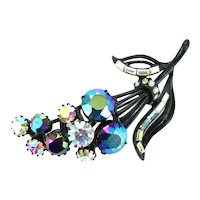 37909a - Blazing HOLLYCRAFT 1957 Black/Blue AB & Crystal Clear AB Flower Brooch/Pin