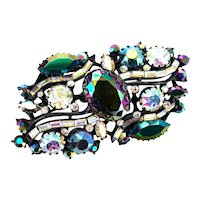 37912a - Blazing HOLLYCRAFT 1957 Black/Blue AB & Crystal Clear AB Brooch/Pin