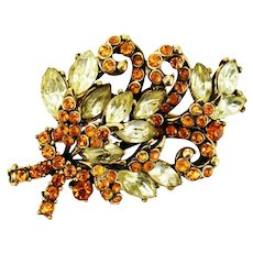 37946a - Hollycraft 1952 Two Tones Of Yellow Color Bouquet Of Flower Brooch/Pin