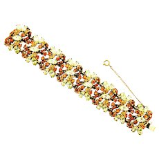 37950a - Hollycraft 1952 Two Tones Of Yellow Color Rhinestones Wide Bracelet