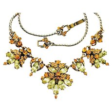 37955a - Hollycraft 1952 Two Tones Of Yellow Color Rhinestones Necklace