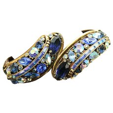 37969a - HOLLYCRAFT 1959 4-Shade Blue/Light & Blue AB Double Hinged Bracelet