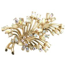 37993a - HOLLYCRAFT 1958 Oval Clear AB Color Rhinestones Delicate Leaf Brooch