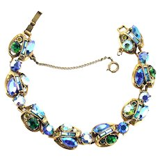 37999a - Hollycraft 1959 3-Shade Green/Blue/Light Blue AB/Green AB Stone Bracelet