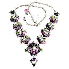38016a - Hollycraft 1954 Purple Green Rose Red Yellow Drippy Dangle Necklace
