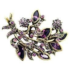 38126a - Hollycraft 1950 Purple Colored Rhinestones Brooch/Pin