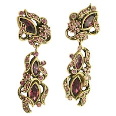 38132a - HOLLYCRAFT 1950 Purple Colored Rhinestones Screw Back Dangle Earrings