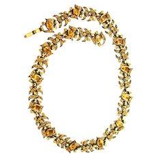 38158a - HOLLYCRAFT 1950 Topaz Color Stones Necklace Choker Dog Collar