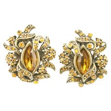 38170a - HOLLYCRAFT 1950 Topaz Colored Rhinestones Clip Back Earrings