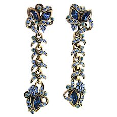 38197a - HOLLYCRAFT 1950 Blue Colored Stone Chandelier Clips-On Dangle Earrings