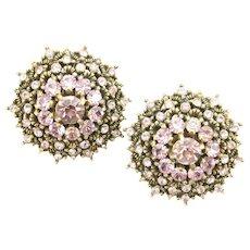 38257a - HOLLYCRAFT 1950 Light Amethyst (Lavender) Stones Clip Back Earrings