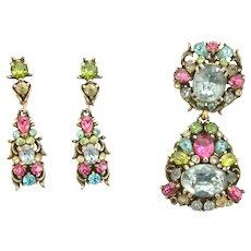 38318a - HOLLYCRAFT 1950 Pastel Dangle Brooch & Dangle Screw-On Earrings Set