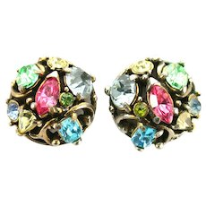 38412a - HOLLYCRAFT 1953 Pastel Color Stones Small Button Earrings