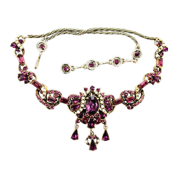 38443a - Signed Hollycraft 1953 Amethyst & Faux Pearls Dangle Necklace
