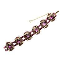 38446a - Chunky Hollycraft 1953 Amethyst Stones & Half Pearls Bracelet