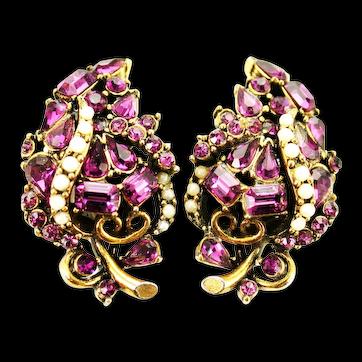 38456a - Signed HOLLYCRAFT 1953 Amethyst & Faux Half Pearls Huge Clip Earrings