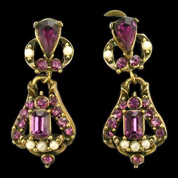 38475a - Signed HOLLYCRAFT 1953 Amethyst & Faux Half Pearls Dangle Earrings Set