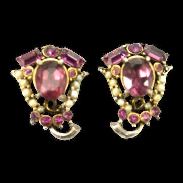 38481a - Signed HOLLYCRAFT 1953 Amethyst & Faux Half Pearls Earrings Set