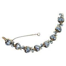 38488a - Hollycraft 1953 Light Sapphire Stones & Half-Pearls 8-Section Bracelet