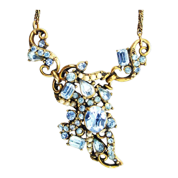 38496a - Signed Hollycraft 1953 Light Sapphire Stones & Faux Pearls Necklace