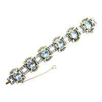38499a - Chunky Hollycraft 1953 Light Sapphire Stones & Half Pearls Bracelet