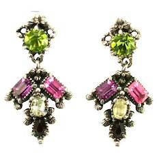 38529a - Hollycraft 1954 Purple Green Red Yellow Rose Dangle Clip-On Earrings