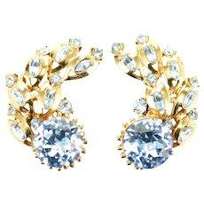 38540a - Hollycraft 1955 Light Sapphire Rhinestones Big Clip Back Earrings