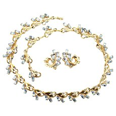 38549a - HOLLYCRAFT 1951 Light Sapphire Colored Necklace/Collar & Earrings Set