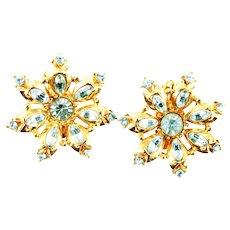 38588a  Hollycraft 1955 Light Sapphire Rhinestones Clip Back Star Shape Earrings