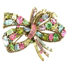 38749a - Hollycraft 1955 Multi Color Pastel BOW Shaped Brooch/Pin