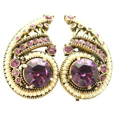 38801a - Signed Hollycraft 1954 Purple Stones & Pearls Huge Clip Earrings
