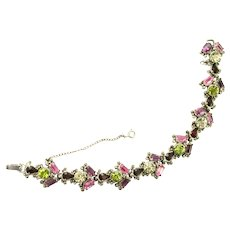 38833a - Hollycraft 1954 Purple Green Rose Red Yellow Small Bracelet